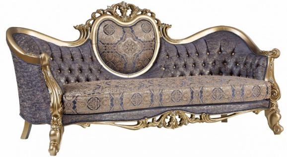 Casa Padrino Luxus Barock Sofa Blau / Gold / Silber 235 x 88 x H. 117 cm - Prunkvolles Wohnzimmer Sofa im Barockstil - Barock Möbel