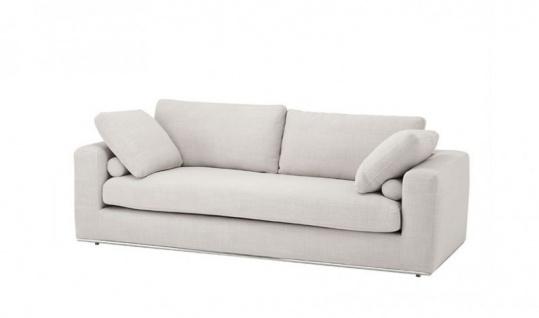 Casa Padrino Luxus Sofa Panama Natural mit poliertem Stahl Sockel - Luxus Kollektion