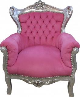 Casa Padrino Barock Kinder Sessel Rosa/ Silber- Barock Möbel