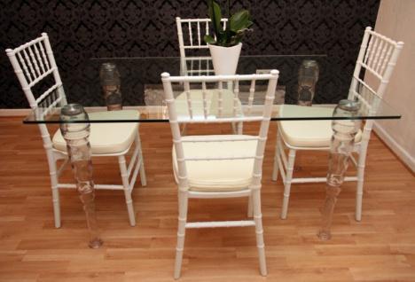 Designer Acryl Esszimmer Set Weiß/Creme - Ghost Chair Table - Polycarbonat Möbel - 1 Tisch + 4 Stühle - Casa Padrino Designer Möbel - Vorschau 2