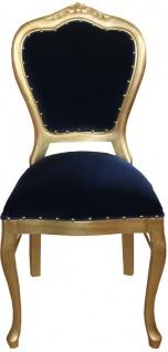 Casa Padrino Luxus Barock Esszimmer Set Royalblau / Gold - 1 Esstisch mit Glasplatte und 6 Stühle - Barock Esszimmermöbel - Made in Italy - Luxury Collection - Vorschau 4