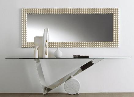 Casa Padrino Designer Konsole Silber / Weiß - Verschiedene Tischgrößen - Konsolentisch mit Glasplatte - Moderne Wohnzimmer Möbel - Luxus Kollektion