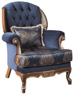 Casa Padrino Luxus Barock Wohnzimmer Sessel mit Glitzersteinen und dekorativem Kissen Blau / Braun 100 x 90 x H. 110 cm - Edel & Prunkvoll