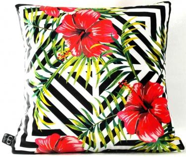 Casa Padrino Luxus Deko Kissen Pittsburgh Flowers Mehrfarbig 45 x 45 cm - Feinster Samtstoff - Wohnzimmer Kissen