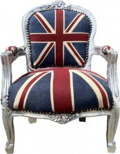 Barock Kinder Stuhl Union Jack/Silber - Armlehnstuhl