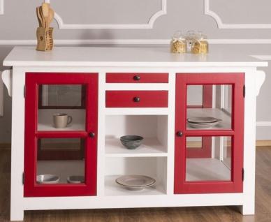Casa Padrino Landhausstil Kücheninsel Weiß / Rot 150 x 90 x H. 90 cm - Massivholz Küchenschrank mit 4 Glastüren und 4 Schubladen - Landhausstil Küchenmöbel