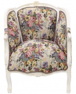 Casa Padrino Barock Salon Lounge Sessel mit Blumenmuster Mehrfarbig / Antik Weiß 70 x H. 100 cm - Barockmöbel