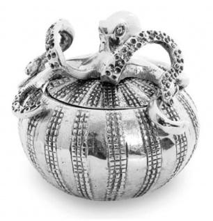 Casa Padrino Aluminium Schüssel Octopus Silber Ø 12 x H. 13 cm - Runde Schüssel mit Deckel - Deko Accessoires