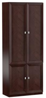 Casa Padrino Luxus Wohnzimmerschrank Dunkelbraun / Silber 90, 6 x 44, 2 x H. 225, 6 cm - Regalschrank Büroschrank mit 4 Türen