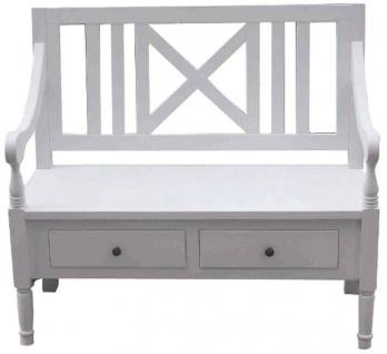 Casa Padrino Landhausstil Sitzbank mit Armlehnen und 2 Schubladen Weiß 120 x 51 x H. 90 cm - Landhausstil Möbel