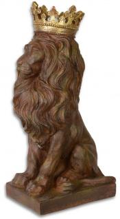 Casa Padrino Skulptur Löwe mit Krone Antik Braun / Gold 19, 2 x 28, 9 x H. 56, 5 cm - Barock & Jugendstil Deko Accessoires