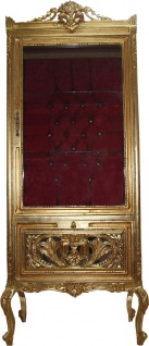 Casa Padrino Barock Vitrine Gold / Bordeaux - Vitrinenschrank - Wohnzimmerschrank Glasvitrine - Antik Look