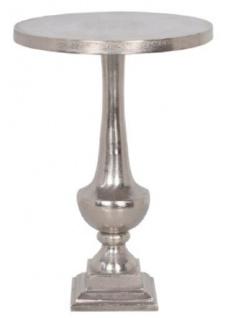 Casa Padrino Barockstil Beistelltisch Silber Ø 39 x H. 55 cm - Runder Aluminium Tisch