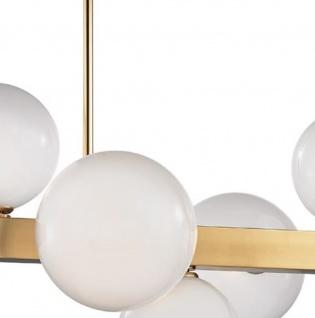 Casa Padrino Luxus LED Hängeleuchte Antik Messingfarben / Weiß 110, 5 x 54 x H. 47 cm - Luxus Kollektion - Vorschau 2