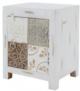 Casa Padrino Landhausstil Shabby Chic Kommode mit Tür Antik Weiß / Mehrfarbig 40 x 32 x H. 50 cm - Landhausstil Möbel - Vorschau 3