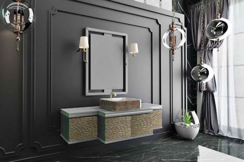 Casa Padrino Luxus Badezimmer Set Grau / Gold / Schwarz - 1 Waschtisch mit 4 Türen und 1 Waschbecken und 1 Wandspiegel mit 2 Wandleuchten - Luxus Kollektion - Vorschau 2