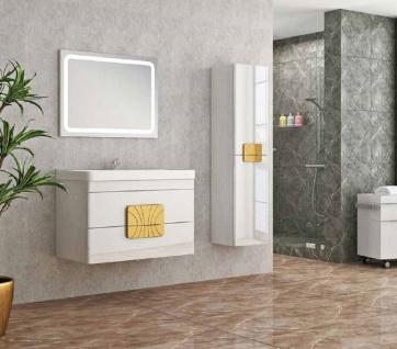Casa Padrino Luxus Badezimmer Set Weiß / Gold - 1 Waschtisch und 1 Waschbecken und 1 LED Wandspiegel und 1 Hängeschrank - Luxus Qualität - Vorschau 2