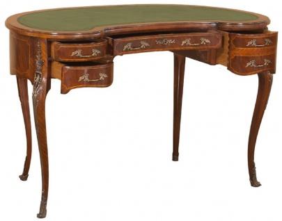 Casa Padrino Luxus Barock Schreibtisch Dunkelbraun / Hellbraun / Grün - Handgefertigter Mahagoni Schreibtisch mit 5 Schubladen - Edle Barock Büro Möbel - Vorschau 3