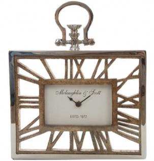 Casa Padrino Tischuhr / Wanduhr im Design einer antiken Taschenuhr Silber Naturfarben 25 x 5 x H. 30 cm - Dekorative Uhr mit einem Ziffernblatt aus unbehandeltem Holz