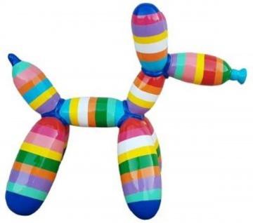 Casa Padrino Designer Deko Skulptur Ballon Hund Mehrfarbig Gestreift 62 x H. 57 cm - Dekorative Tierfigur - Wetterbeständige Dekofigur