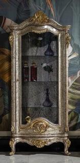 Casa Padrino Luxus Barock Vitrine Antik Silber / Braun / Gold - Handgefertigter Massivholz Vitrinenschrank - Prunkvolle Barock Möbel