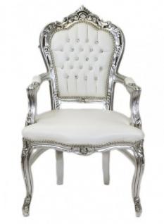Casa Padrino Barock Esszimmer Stuhl mit Armlehnen weiß / silber Lederoptik mit Bling Bling Glitzersteinen