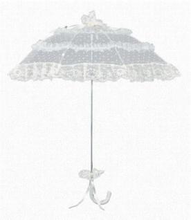 MySchirm Designer Brautschirm Hochzeitsschirm in champagner mit gepunktetem Tüll - romantischer Decoschirm
