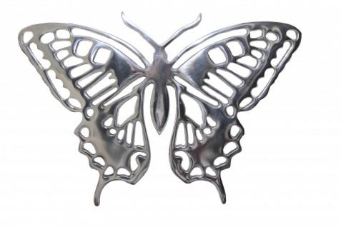 Riesiger Casa Padrino Designer Schmetterling aus poliertem Aluminium, Silber, H 29 cm, B 41 cm - Wandfigur, Wanddekoration Aluminium