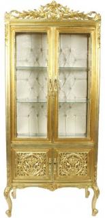 Casa Padrino Barock Vitrine Gold / Cremefarben 100 x 40 x H. 170 cm - Prunkvoller Barock Vitrinenschrank mit 2 Glastüren wunderschönen Verzierungen und Glitzersteinen