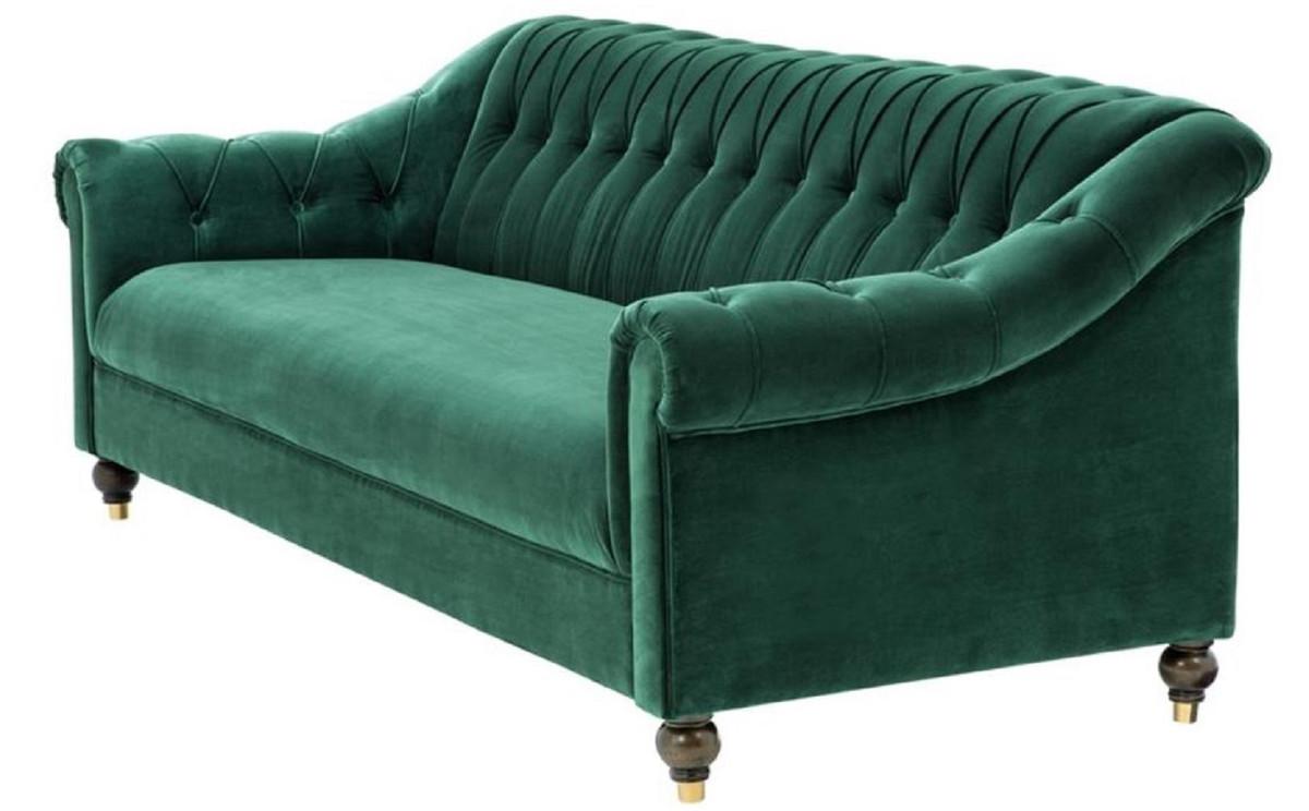 Casa Padrino Luxus Chesterfield Wohnzimmer Sofa Grün / Braun / Gold 230 x  90 x H. 81, 5 cm - Luxus Qualität