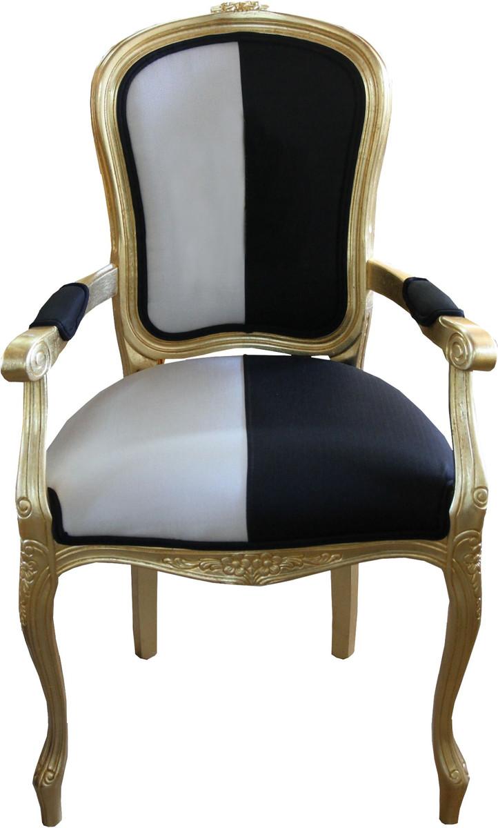Casa Padrino Barock Esszimmer Stuhl Mit Armlehnen Schwarz / Weiss / Gold   Designer  Stuhl