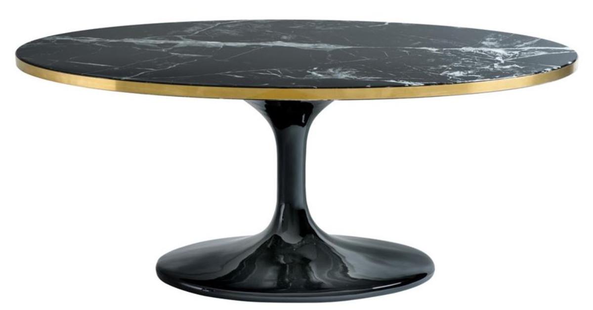 Casa Padrino Luxus Couchtisch Oval Schwarz Messingfarben 120 X 60