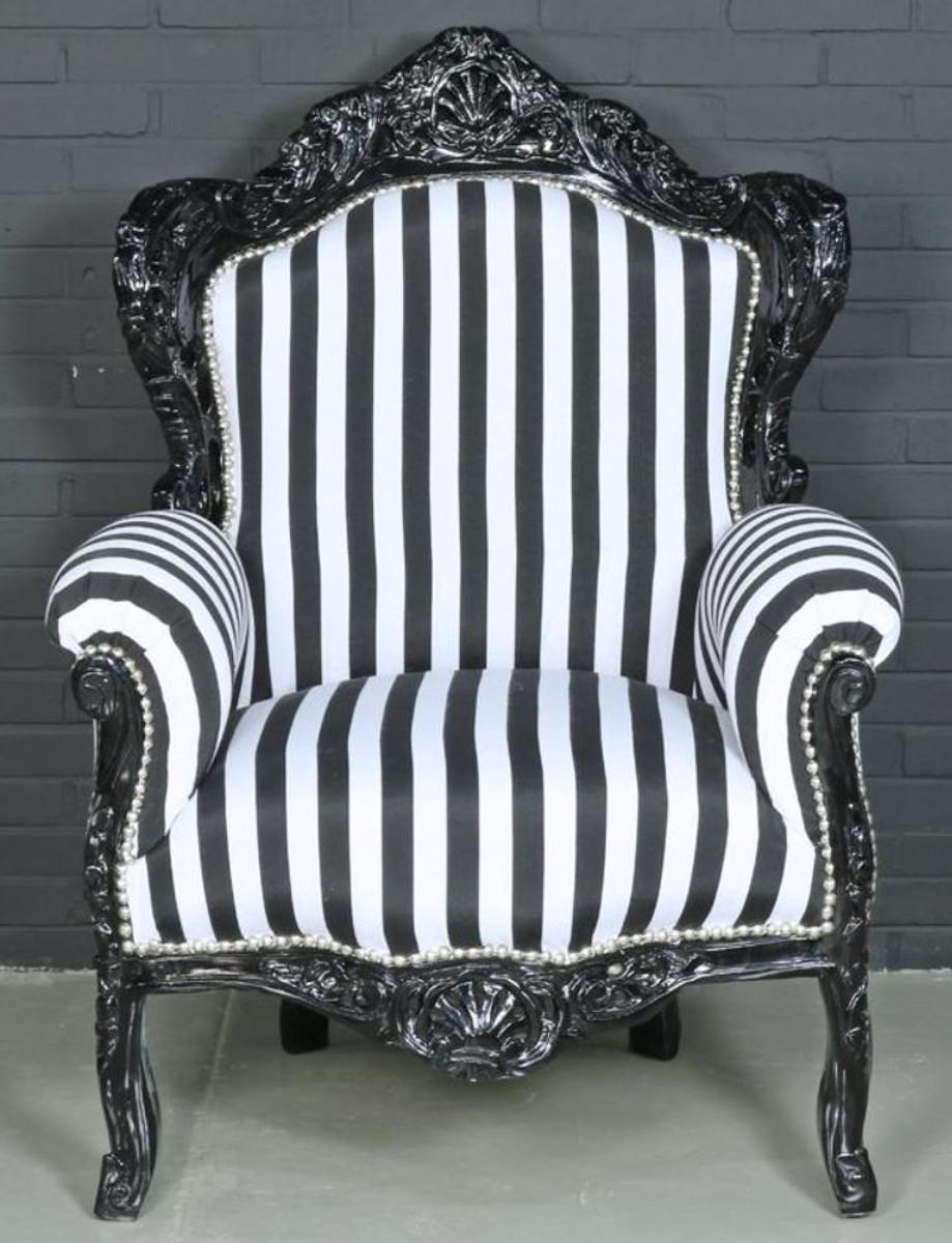 Casa Padrino Barock Sessel Schwarz Weiß 85 x 85 x H 120 cm Barockstil Wohnzimmer Sessel mit