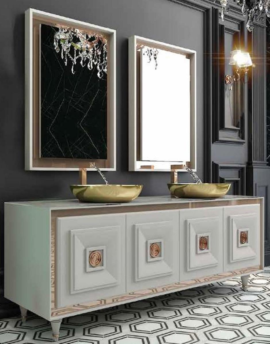 Casa Padrino Luxus Badezimmer Set Weiss Bronze Gold 1 Waschtisch Mit 4 Turen Und 2 Waschbecken Und 2 Wandspiegel Luxus Badezimmermobel