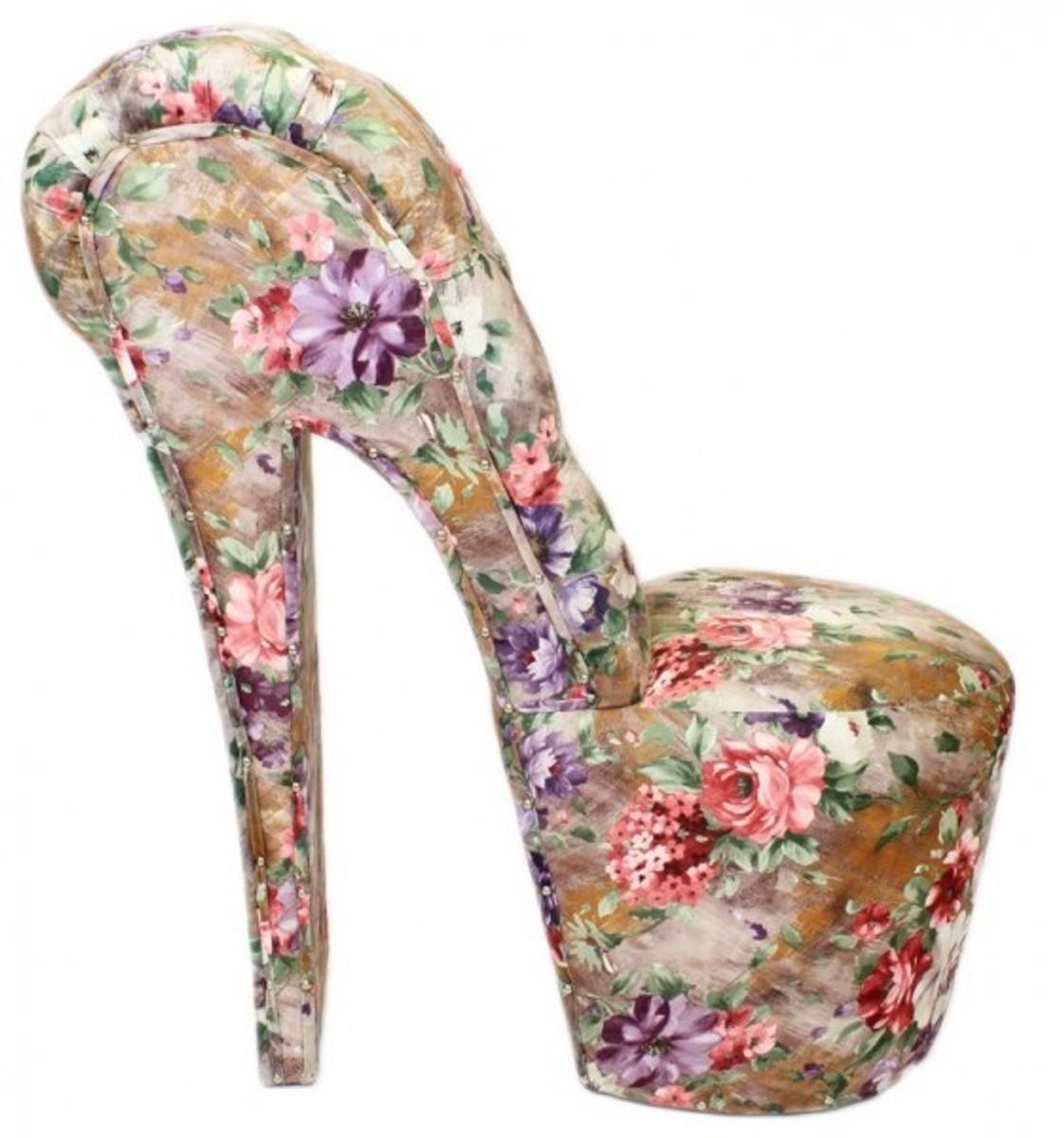 Casa Padrino High Heel Sessel Blaumen Muster Luxus Design - Designer Sessel - Club Möbel - Schuh Stuhl Sessel Blaumen Muster