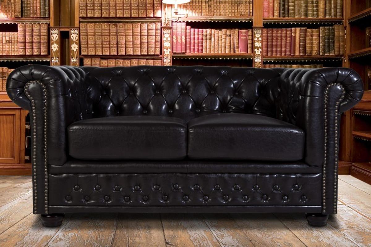 Casa Padrino Chesterfield 2er Sofa Dunkelbraun Wohnzimmer Couch