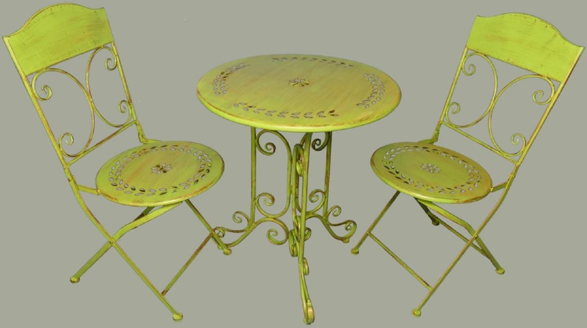 Casa Padrino Jugendstil Gartenmobel Set Rustikal Grun 1 Tisch