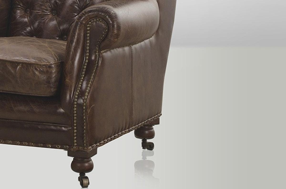 Chesterfield Luxus Echt Leder Ohrensessel Adringley Vintage Leder
