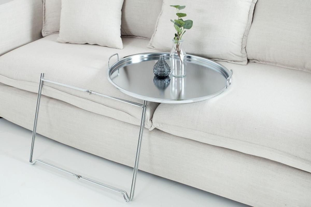 Casa Padrino Couchtisch Silber Klappbar Tablett B 56 Cm X H 48 Cm