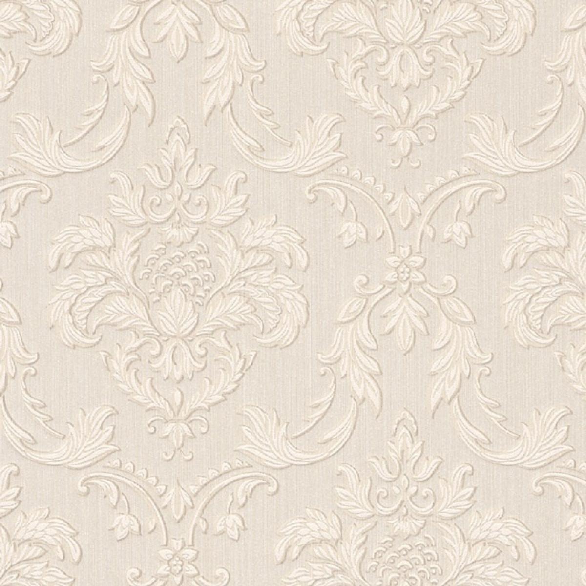 Casa Padrino Barock Textiltapete Creme / Beige / Weiß 10, 05 x 0, 53 m -  Wohnzimmer Tapete im Barockstil - Hochwertige Qualität