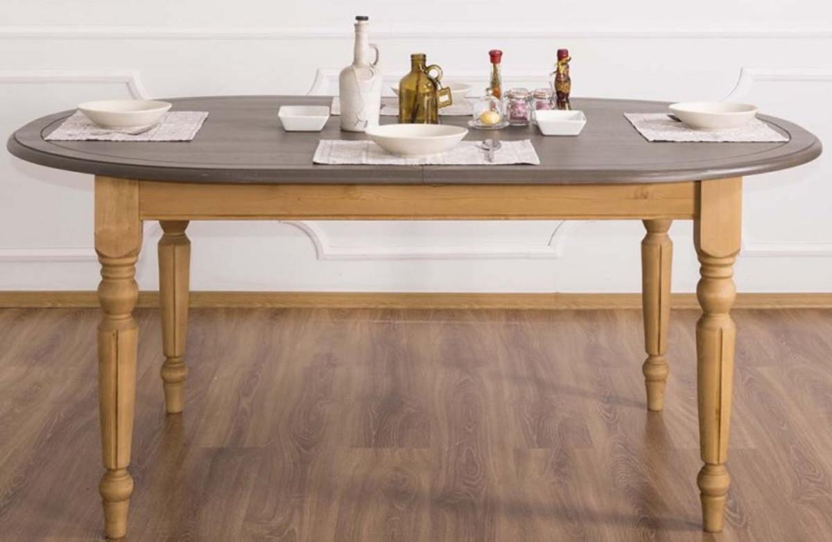 Casa Padrino Landhausstil Esstisch Grau Hellbraun 180 X 120 X H 78 Cm Ovaler Massivholz Kuchentisch Mit Eichenholz Tischplatte Kaufen Bei Demotex Gmbh