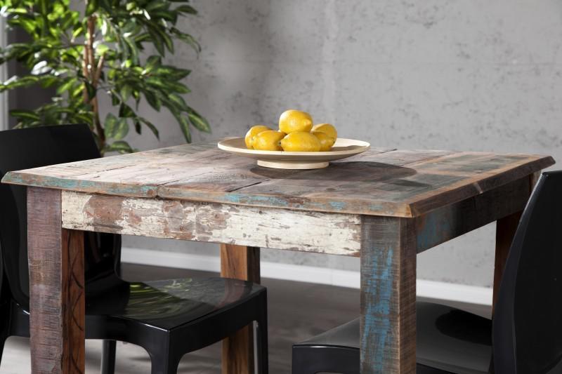 casa padrino massivholz esstisch vintage teakholz recycled 80 x 80 cm esszimmer vintage look. Black Bedroom Furniture Sets. Home Design Ideas