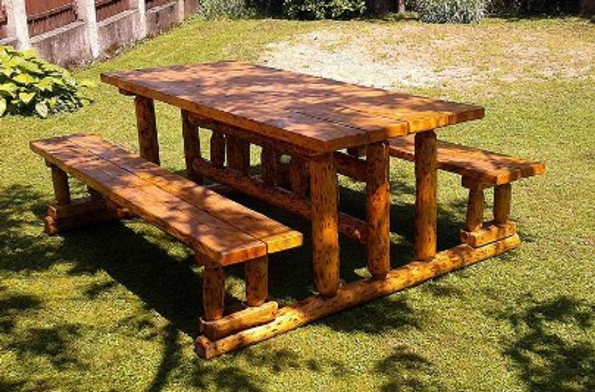 Casa Padrino Gartenmöbel Set Rustikal Tisch + 2 Garten ...