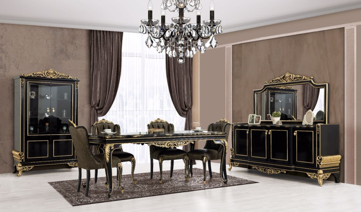 Casa Padrino Luxus Barock Mobel Set Schwarz Gold 1 Sideboard Mit 4 Turen 1 Spiegel Edle Barock Mobel Edel Prunkvoll Kaufen Bei Demotex Gmbh