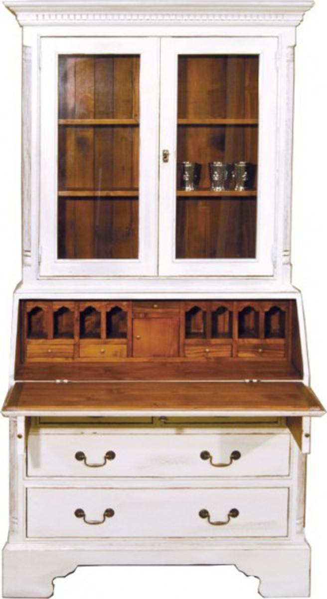 Casa Padrino Vintage Sekretär Schrank Antik Stil Weiss / Holzfarben ...