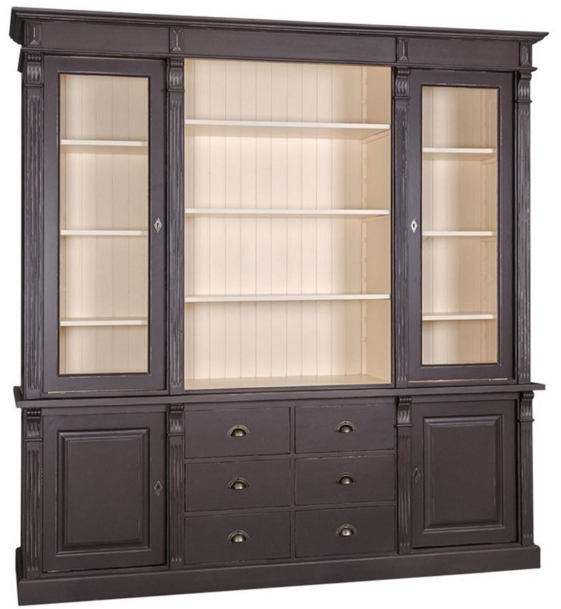 Casa Padrino Landhausstil Wohnzimmerschrank Antik Schwarz / Creme 7 x 7  x H. 7 cm - Bücherschrank mit 7 Türen und 7 Schubladen - Massivholz