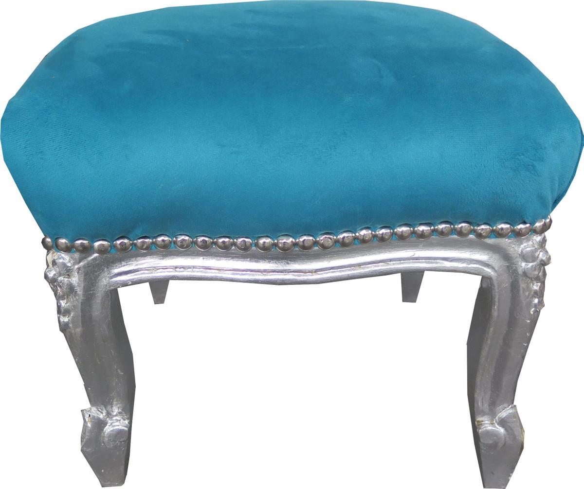 casa padrino barock fu hocker blau silber antik stil. Black Bedroom Furniture Sets. Home Design Ideas