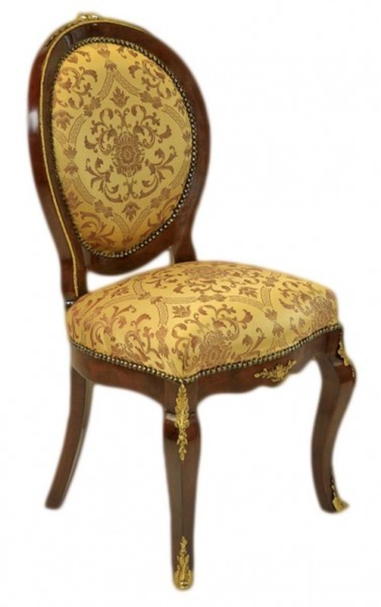 casa padrino barock luxus esszimmer medaillon stuhl gold muster mahagoni antik stil m bel. Black Bedroom Furniture Sets. Home Design Ideas