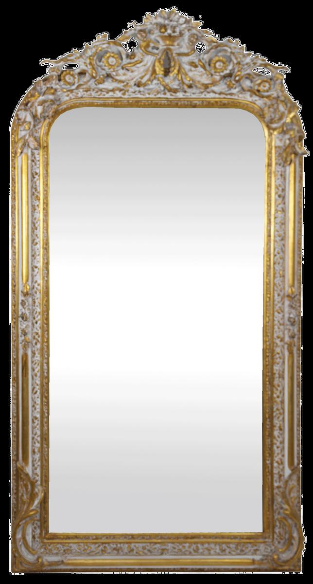 Barock Antik Wandspiegel Barockspiegel Antike Verzierungen WEIß GOLD 96x57 Neu