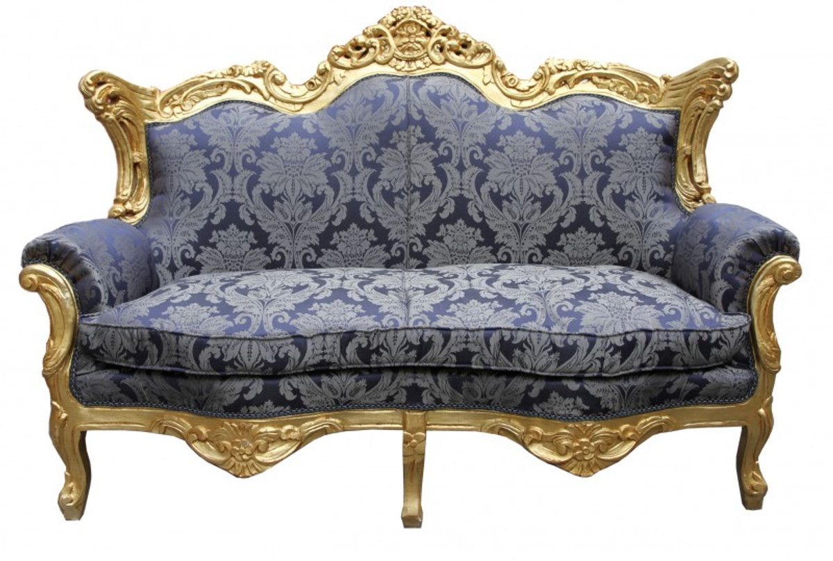 Casa Padrino Barock 2er Sofa Master Royal Blau Muster / Gold 2Mod    Wohnzimmer Couch Möbel